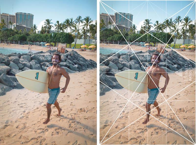 Street Photography and Ricoh GR III-3-Waikiki Hawaii-_T002029-guy-running-with-grid