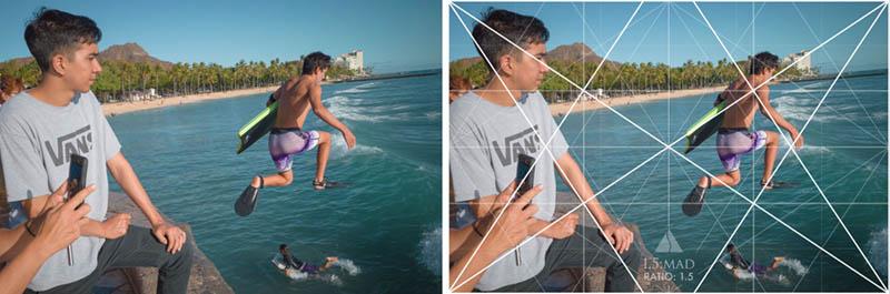 Street Photography and Ricoh GR III-3-Waikiki Hawaii-_T002111-boogie-boarder-jump-with-grid