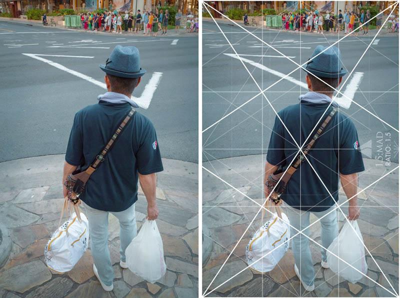 Street Photography and Ricoh GR III-3-Waikiki Hawaii-_T002199-bags-and-diagonal-with-grid