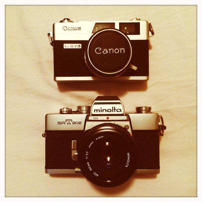 Minolta-SRT-202-and-Canon-Canonet-QL-G3