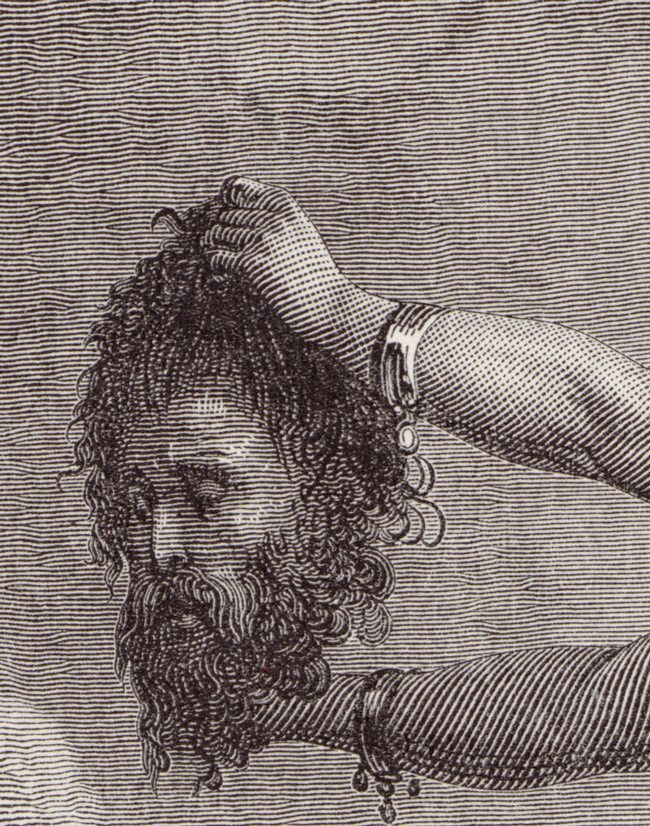 Gustave_Doré_-_The_Holy_Bible_-_Judith_XIV_-_Judith_showing_the_head_of_Holofernes_-_original-detail
