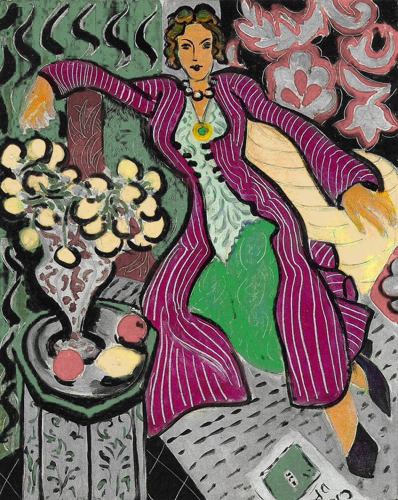 Complementary-Colors-Myth-woman-in-a-purple-coat-Matisse-adjusted-gray