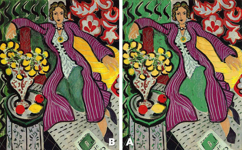 Complementary-Colors-Myth-woman-in-a-purple-coat-Matisse-combo