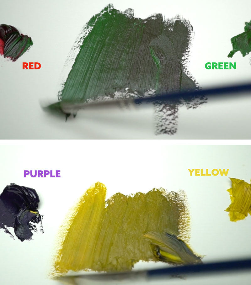 complementary-colors-mixing-paints-to-get-gray