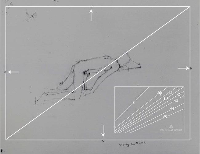 Euan-Uglow-Preliminary-Sketch-Phi-Calipers-diagonal-gauge